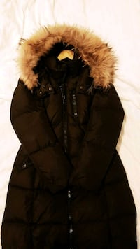 Black and brown fur-line Coach winter jacket  Toronto, M1K 4C2