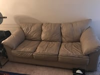 brown leather 3-seat sofa and Love seat