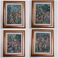 Traditional Balinese Paintings, gold wood frame Toronto, M2J 2C2