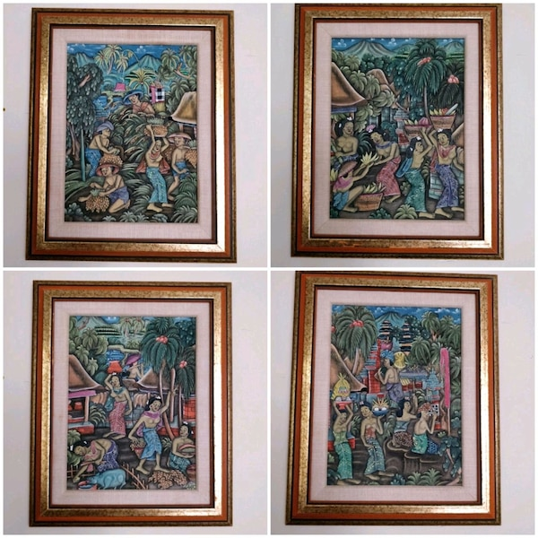 Traditional Balinese Paintings, gold wood frame 4d07fe1d-9477-4e44-bb6f-af5403264d1b