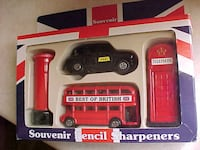 Best Of Britain Die Cast Pencil Sharpeners Bus Taxi Mailbox Phone Booth LONDON