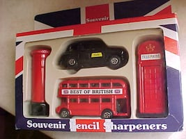 Best Of Britain Die Cast Pencil Sharpeners Bus Taxi Mailbox Phone Booth