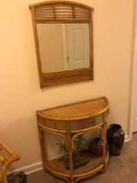 Wicker/Bamboo Console Table/Mirror/Chair WALDORF