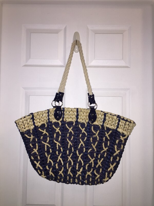 5cb9805caecd NAVY BLUE & BEIGE NATURAL STRAW BEACH BAG SHOULDER TOTE WITH ZIPPER TOP