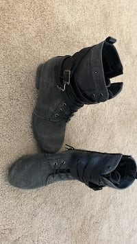 pair of women's black leather lace-up boots Saskatoon, S7K 4H7