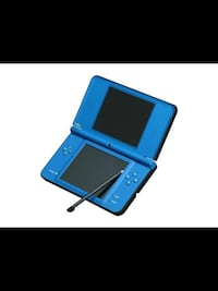 blue Nintendo 3DS with game cartridge