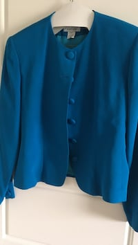 100% silk, turquoise suit. Includes long and short skirt plus slacks. Lined also. Size 10 Airdrie, T4A