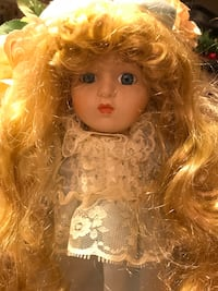 Pretty Porcelain Doll with long Blonde hair & Blue Satin Dress Gainesville, 20155