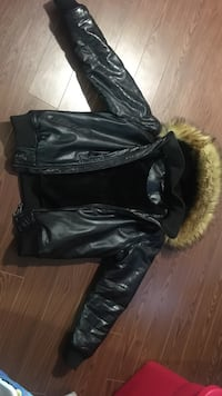 Black leather jacket with furry inside Toronto, M9V 2N8