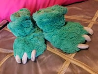 teal and white fur textile
