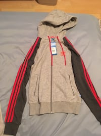 ADIDAS gray and red zip-up hoodie Vancouver, V6J