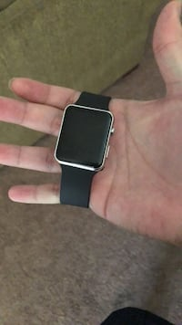 silver aluminum case Apple Watch with black sport band Bakersfield, 93312