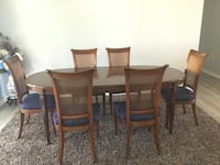 rectangular brown wooden table with six chairs dining set Millville, 19967