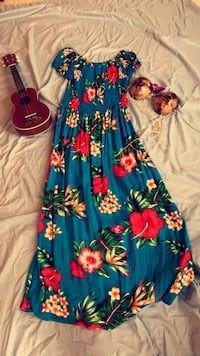 Blue and red floral off the shoulder dress #hawaii #summer #beach Alexandria, 22312
