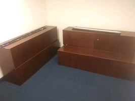 Office furniture cherry wood 6ft WALL file cabinets