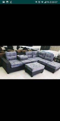 gray suede sectional sofa with ottoman 1297 mi