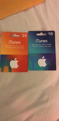 two orange and blue 25 and 15 dollars iTunes gift cards Jurupa Valley, 91752
