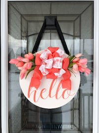 Hello Front Door Hanger Decor, Spring Door Hanger, Welcome Sign