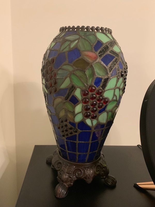 green and blue stained glass table lamp