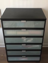 Ikea black-brown Hopen dresser with frosted front panels (6 drawer).  Washington, 20001