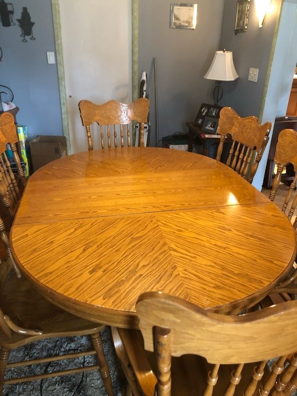 Astounding Solid Oak Dining Table And 6 Chairs Squirreltailoven Fun Painted Chair Ideas Images Squirreltailovenorg