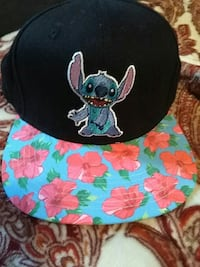 blue and pink floral stitch printed fitted cap Florence