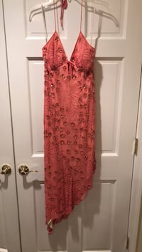 Salmon beaded cocktail dress 10 km