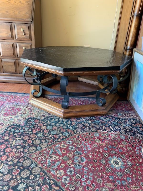 Slate and wrought iron  coffee table good condition 4987fc40-87a1-4344-98c6-54d8d83c4503