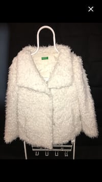 white fur button-up coat