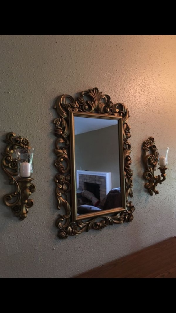 Home Interiors And Gifts Syroco 1977 Gold Framed Rose Mirror Homco
