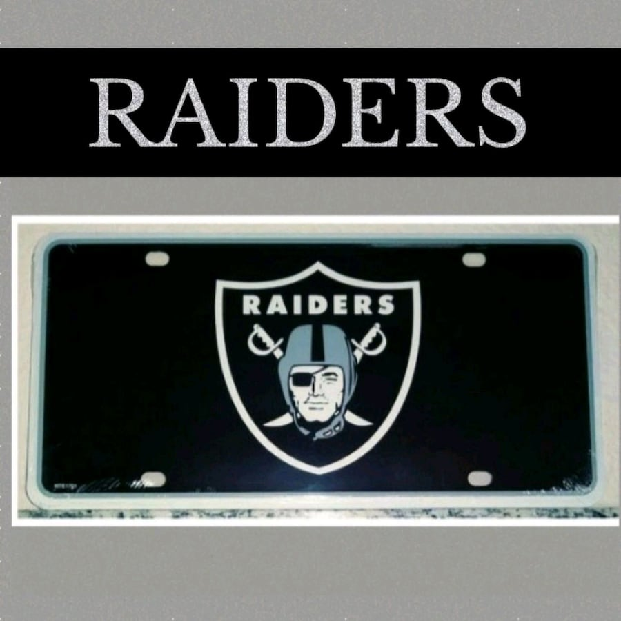 RAIDERS METAL LICENSE PLATE