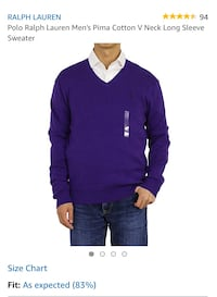 New with tags - Polo Ralph Lauren pima cotton Men's large size v-neck sweater Pickering, L1V 6L2