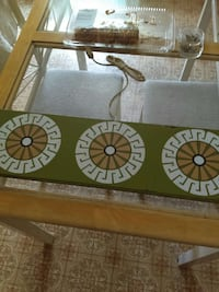 brown wooden table frame glass table
