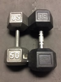 two gray fix-weight hex dumbbells Grayslake, 60030