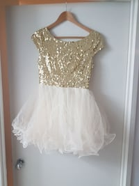 Creme and gold sequin party dress.  Toronto, M5A 4P9
