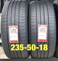 2 used tires 235/50/18 Goodyear  1206 mi