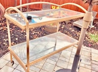 Nice Outdoor/indoor Glass and metal shelf, very sturdy. Can be used for entertaining bar or buffet. Great condition. Similar are selling for $280. San Jose, 95111