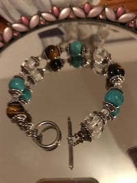 Pretty! Silver Bracelet with Turquoise, Amber & Crystal stones Gainesville, 20155