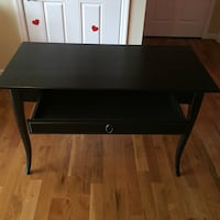 Black  table computer desk.  +  HENRIkSDAL  IKEA. CHAIR. with cover