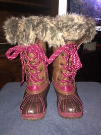 London Fog Little/Big Girl Milton Brown/Pink Water Resistant Boots Sz 1 North Olmsted, 44070