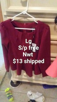 red crew-neck long-sleeved shirt