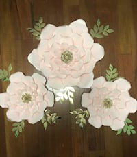 Blush coloured paper flowers.