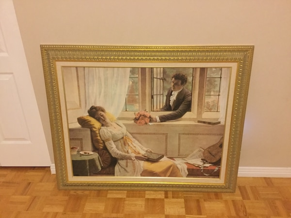 painting of woman and man with brown wooden frame