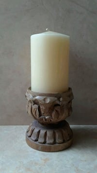 Pottery Barn Wood Pillar Candle Holder & Candle
