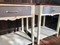 Must Sell!! Two Distressed Farmhouse End/Side Tables Los Angeles