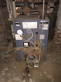 Oil fired Weil mclain boiler with burner and parts