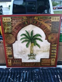 "Wood palm tree picture 24""x24"" Spring Hill, 34608"