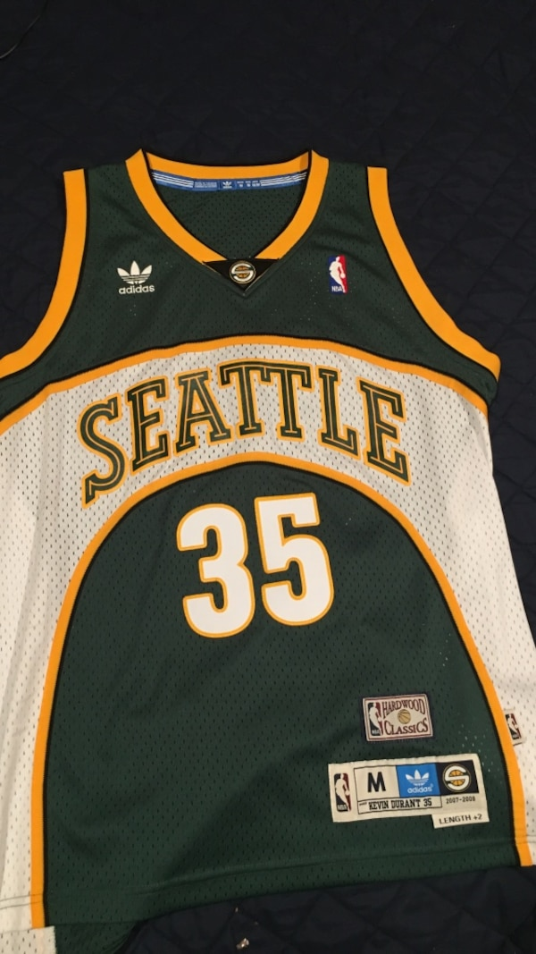 the best attitude 31d55 d882d Used green Seattle Supersonics #35 Kevin Durant jersey for ...