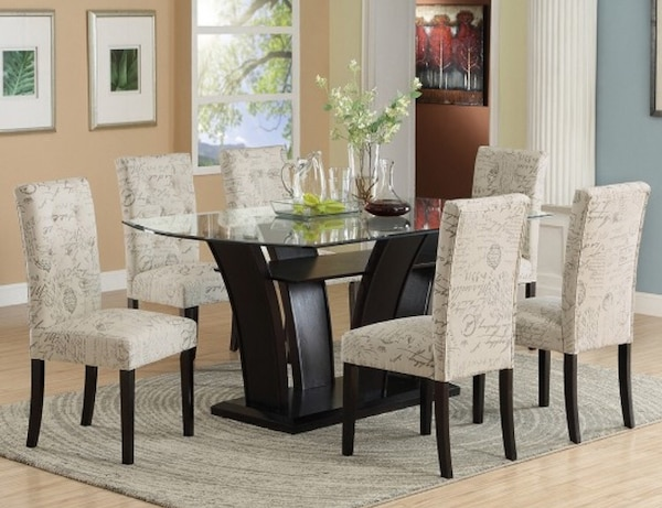 BEAUTIFUL 7 PCS DINING ROOM SET W/12MM TEMPERED GLASS TOP + 6 WORDING  FABRIC CHAIRS. (Black P/U upholstered chairs available)* Take it home TODAY  ...