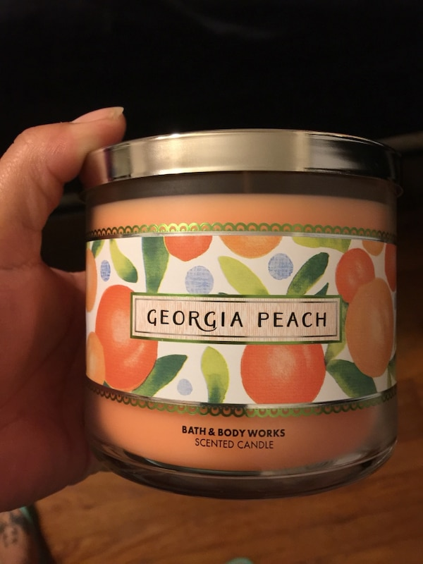 Used Georgia Peach Bath And Body Works Scented Candle For